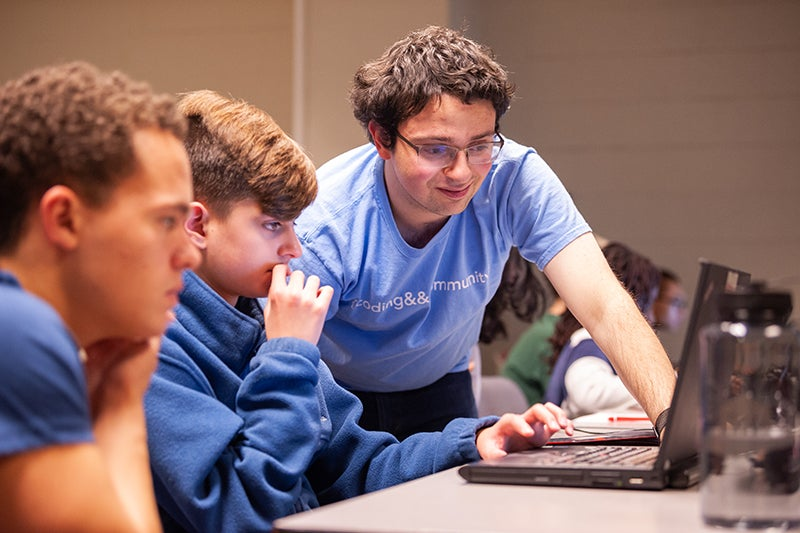 Students practice coding exercises with support of coding&&community instructor.