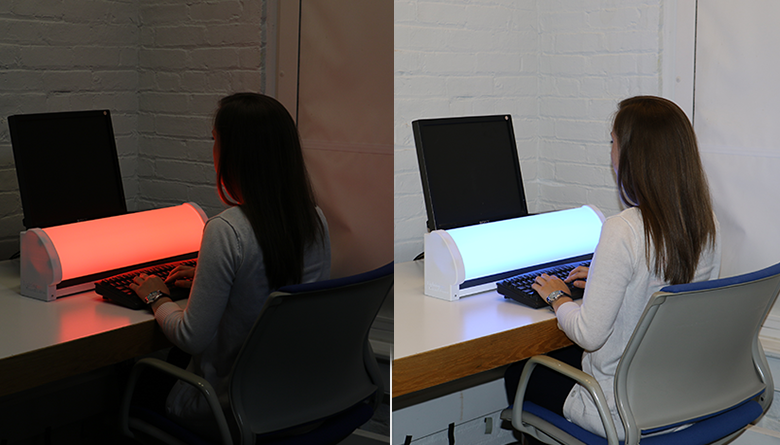 Left: Person typing on keyboard in front of red light. Right: Person typing on keyboard in front of blue light.