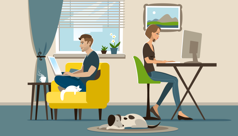 Illustration of two people working from home in a living room