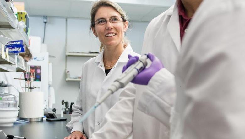 Kristen Mills in her lab