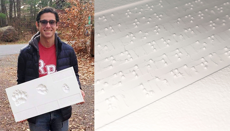 Left: Ammar Barbee, Right: Sign with Braille installation