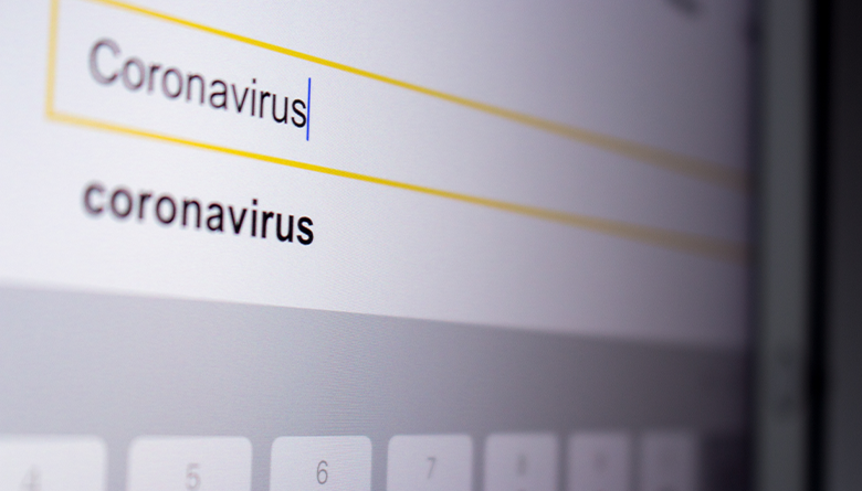 "Search box with the word ""coronavirus"" being typed."