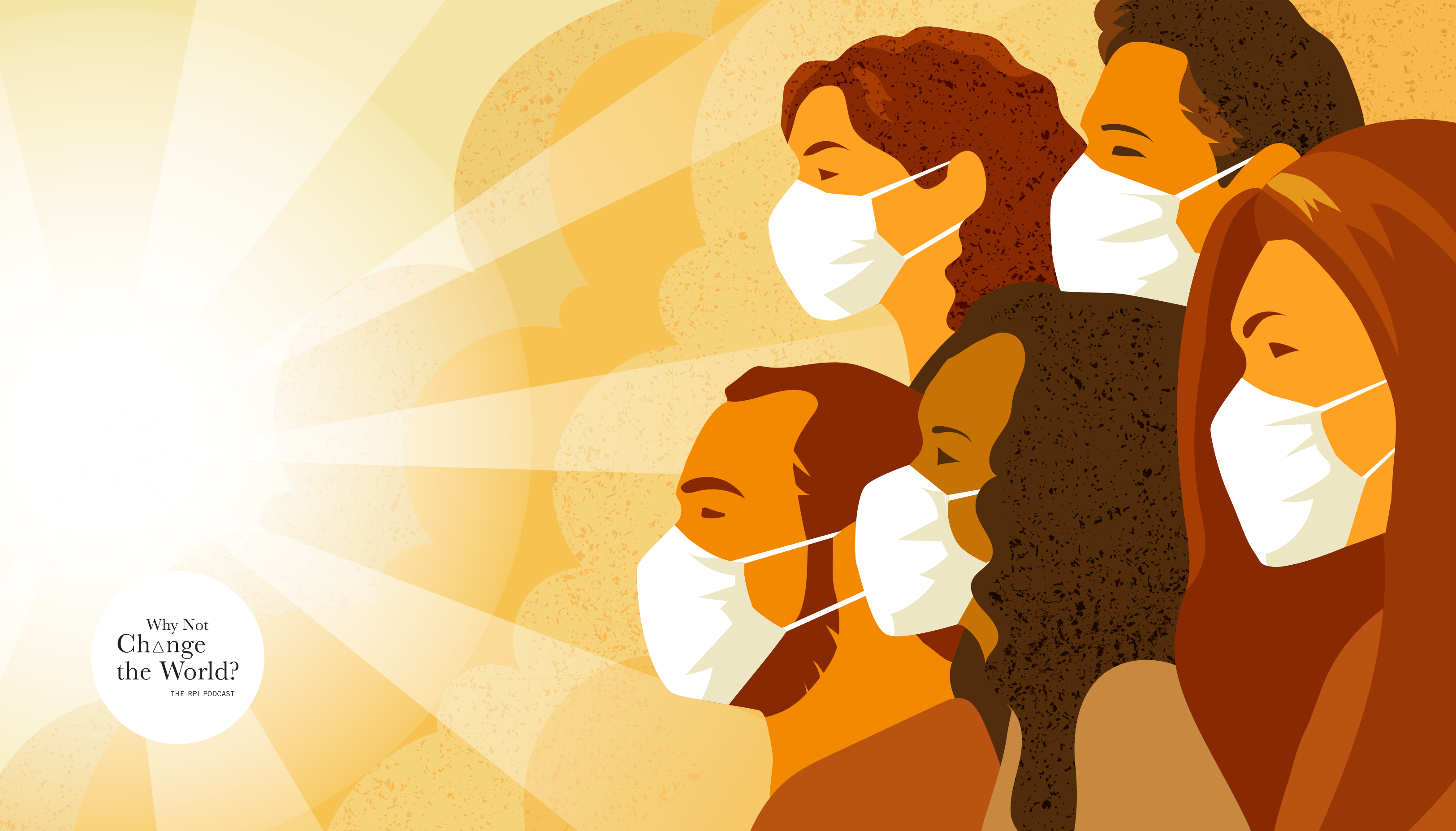 Illustration of sunlight shining on a group of people wearing face masks